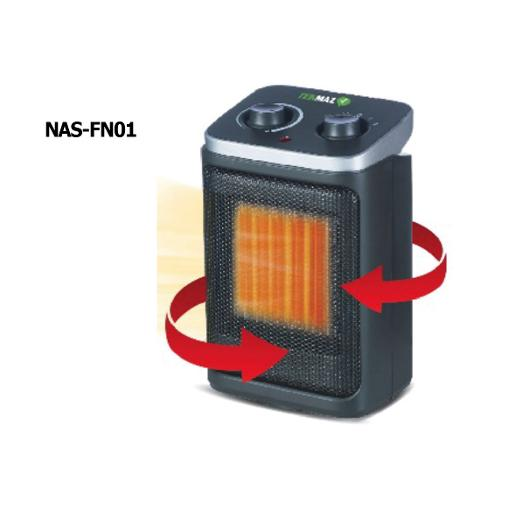 TEKMAZ Ceramic Fan Heater Nas-fn01 Safety Tip 1500w Black