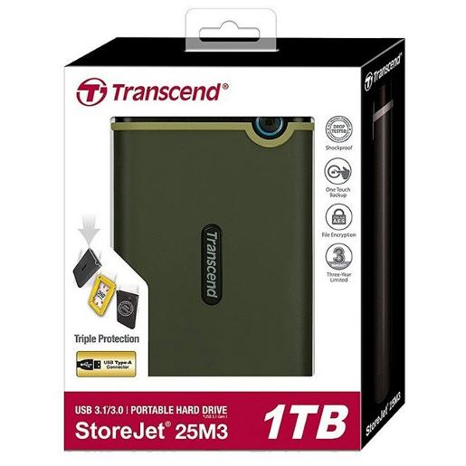 "Transcend 1TB  2.5"""" Portable HDD  StoreJet M3  Military Green  Slim"