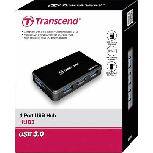 Transcend USB 3.0 4-Port Hub TS-HUB3K  Black