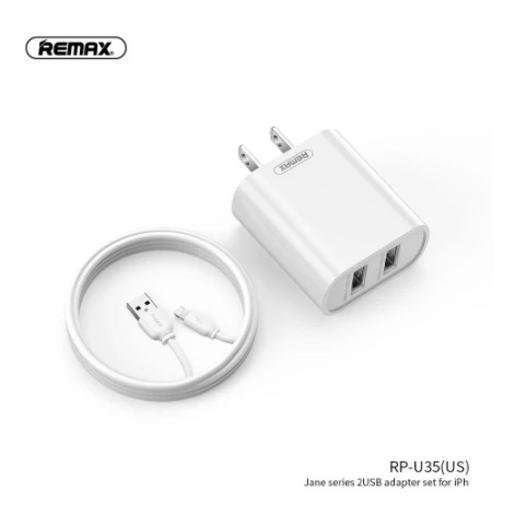 REMAX JANE SERIES 2.1A DUAL USB CHARGER SET  HOME CHARGER 2USB + CABLE Lightning 1m