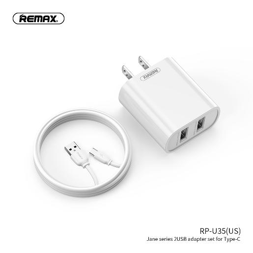 REMAX JANE SERIES 2.1A DUAL USB CHARGER SET  HOME CHARGER 2USB + CABLE Type-C 1m