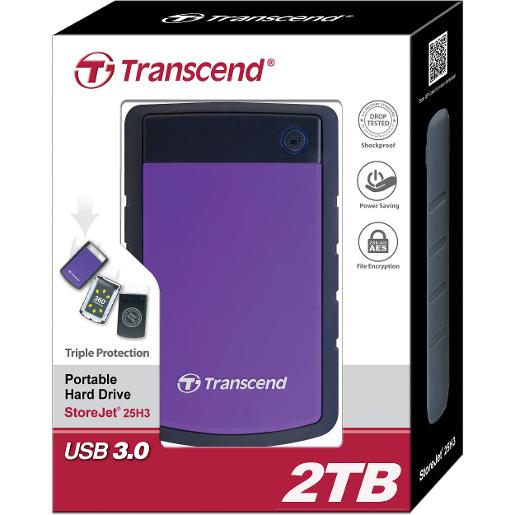 "Transcend 2TB  2.5"""" Portable HDD  StoreJet H3  PURPLE Slim"