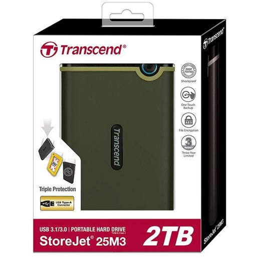 "Transcend 2TB  2.5"""" Portable HDD  StoreJet M3  Military Green  Slim"