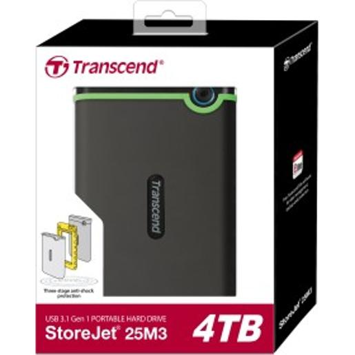 "Transcend 4TB  2.5"""" Portable HDD  StoreJet M3  Military Green  Slim"